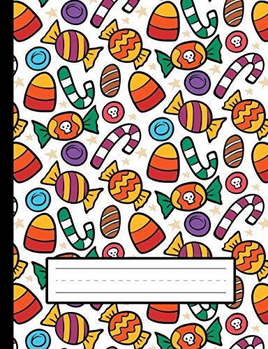 Candy Corn, Cute Candies - Halloween Primary Story Journal To Write And Draw For Grades K-2 Kids: Standard Size, Dotted Midline, Blank Handwriting Practice Paper With Picture Space For Girls, Boys