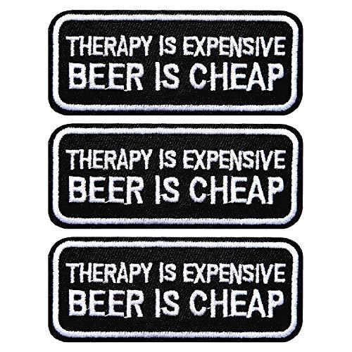 BPA - 3 pezzi - La terapia è costosa birra è a buon mercato ricamato toppa da cucire
