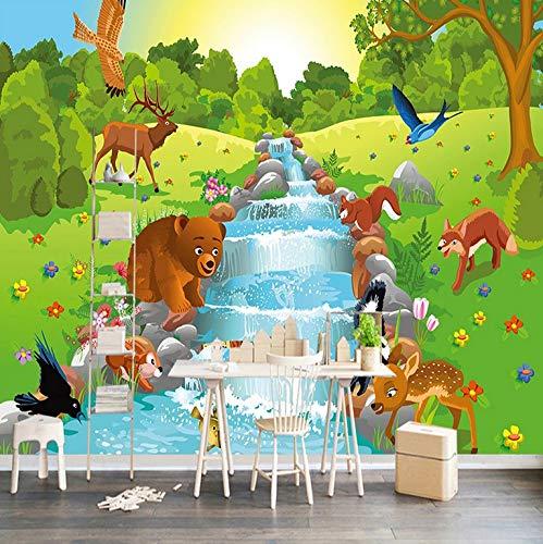 Aufkleber Wasserdicht Selbstklebende Wandtapete 3D Cartoon Tier Wald Kinderzimmer Schlafzimmer Hintergrund Wand Painting1M2