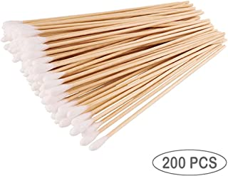 200PCS Cotten Swab Applicators, 6 Inch Long Wooden Cotton Swabs - Cleaning Gun Sterile Medical Q Sticks Tips Applicator With Wood Handle - Makeup & Ear Cleaner Remover Tools - For Ceramics, Jewelry