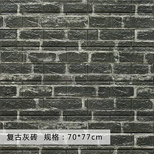 2 pegatinas autoadhesivas de 70 cm x 77 cm de espuma de ladrillo resistente al agua 3D tridimensional para decoración del hogar (color: 09, tamaño: 77 cm x 70 cm x 2 unidades)