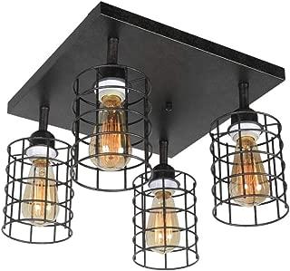 Beuhouz Industrial Iron Semi Flush Mount Ceiling Lighting, Black Metal Wire Cage Ceiling Light Fixture 4 Light Edison E26 8028