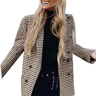 Moda Mujer Abrigo botón a Cuadros Estampado Enrejado hombreras Traje Chaqueta