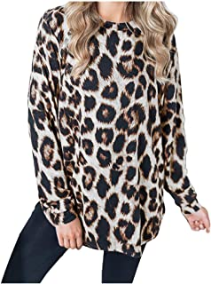 OULSEN Womens Fashion Leopard Print Blouse Loose Casual Crew Neck Long Sleeves Tunics Tops Pullover Sweatshirt