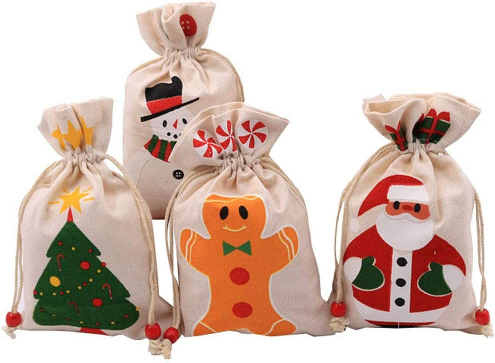YARDWE 4Pcs Cheap mail order specialty store Portable Christmas T Very popular Candy Drawstring Bags