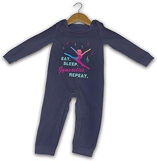 Eat Sleep Gymnastics Repeat-1 Sommer-Strampler mit langen Ärmeln, für Mädchen und Jungen, Baumwolle