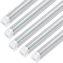 8FT LED Tube Light Fixture - 72w, 7200lm, 6000K Cool White, V Shape, Integrated T8 LED Shop Lights for Garage, Warehouse, Workshop, Barn, Basement, 100-305Vac (25Pack)