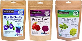 Wilderness Poets, Rainbow Superfood Powder Variety Pack (Dragon Fruit Powder, Blue Butterfly Powder, Matcha Green Tea Powder)