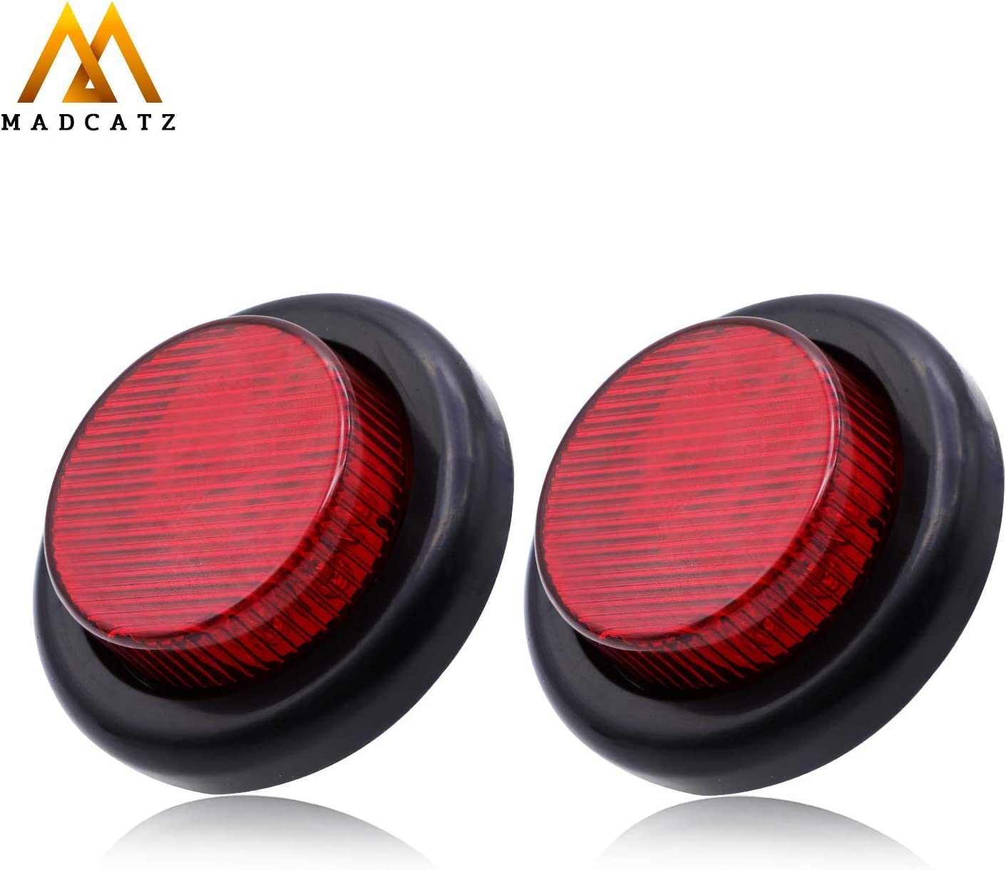 Pack of 2 MadCatz Inch Elegant Round Max 72% OFF Lights TPE Side Marker with Red