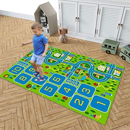 KLLKR Alfombra para niños Jugar a la rayuela Sistema de tráfico por Carretera Alfombra de Juego Ideal para Jugar con Autos para el Dormitorio Sala de Juegos(Size:90 * 140cm)