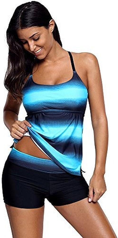Fanceey Push Up Bikini Tankinis Fluorescent Swimwear Women Blue Swimsuit Bathing Suit Beach Wear Plus Size S-4XL