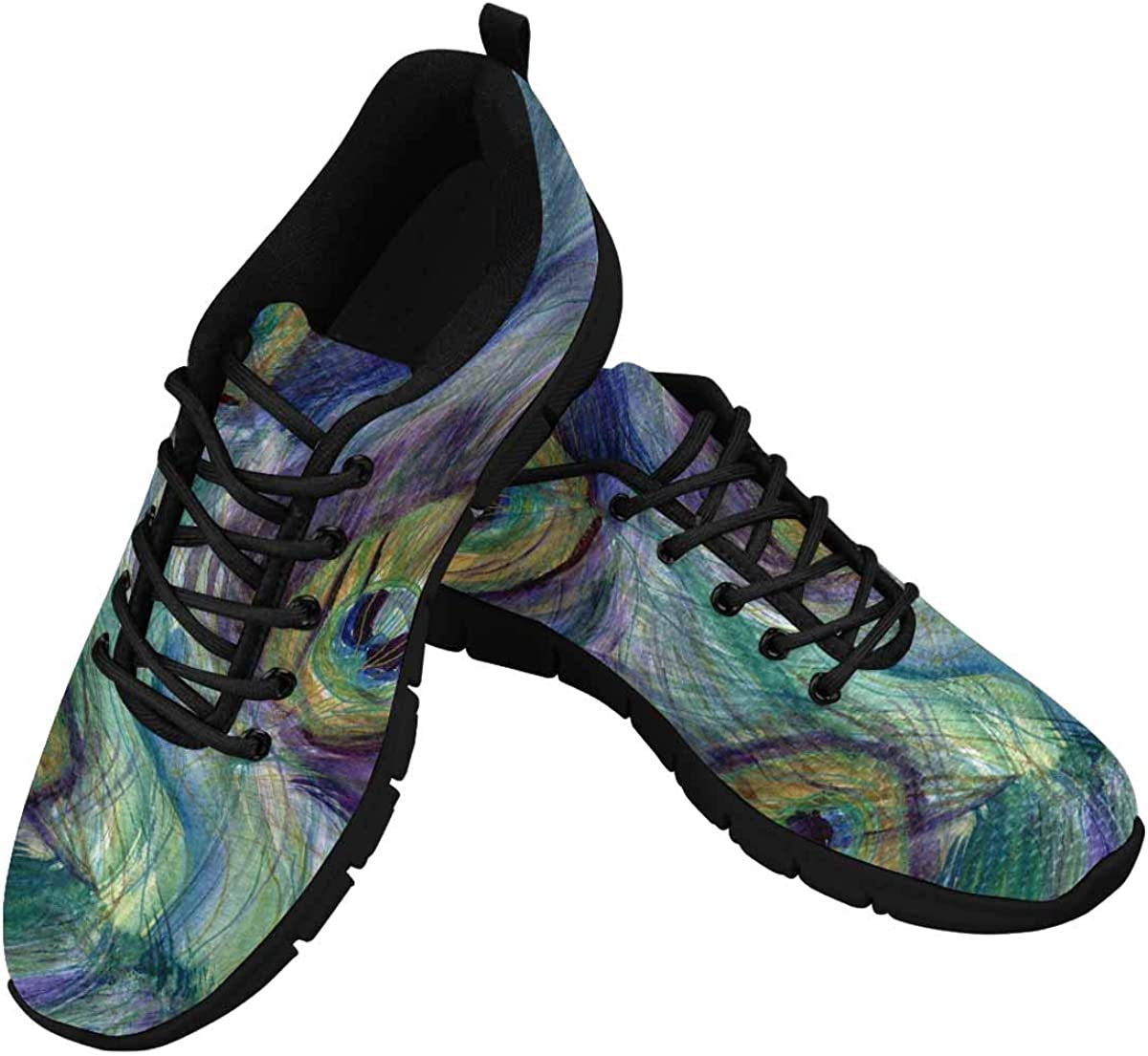 InterestPrint Feathers of Peacock Women's Athletic Walking Shoes Comfort Mesh Non Slip