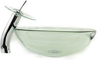 Clear Greenish Sink with Waterfall Faucet; Glass Vessel Sink and Faucet Combo; Bathroom Round Bowl with Matching Glass Faucet; Above The Counter Sink; Art Design Sink; Clear Green Glass