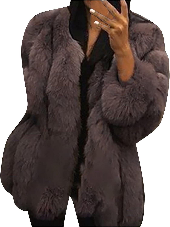 HuiXIng Women Luxury Faux Fur Winter Coat Long Sleeve Plush Warm