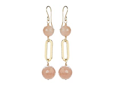 Dee Berkley Ball and Chain Earrings with Peach Moonstone