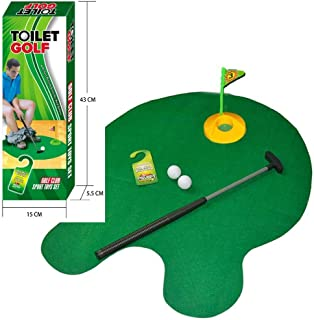 Tyger Games Toilet Golf, Potty Putter Toilet Time Golf Game, Toilet Golf Potty Putter Set, Great Gag Gift, White Elephant Gift or Dirty Santa Gifts