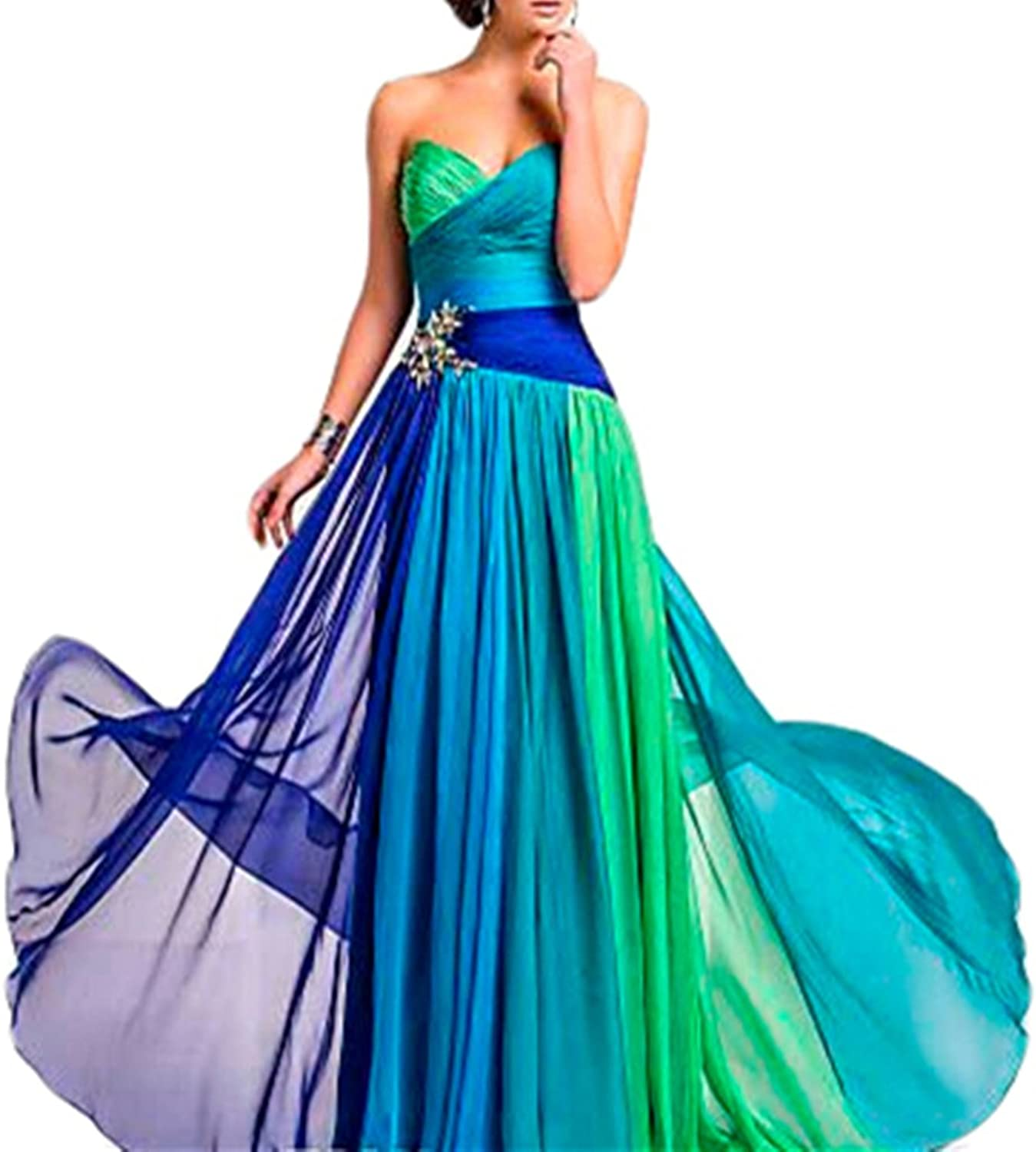 Emmani Women's Long Sweetheart colorful Formal Evening Dresses Party Gown