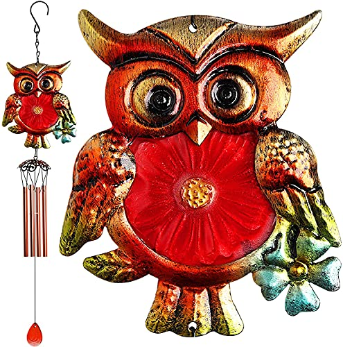 Indoor Outdoor Hummingbird Wind Chimes, Metal Glass Music Wind Chime Mobile Romantic Chimes for Garden, Patio, Yard, Backyard or Festival Decor, Best Mothers and Women Gifts (Color : Owl-Red)