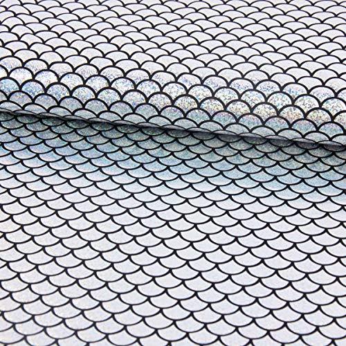 SCHÖNER LEBEN. Faschingsstoff Stretch Elastic Folienjersey Glitzer Schuppen 1,8cm Silber schwarz 1,42m