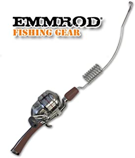 Emmrod 8 Coil Casting Rod Packer Combo - MAROON Handle Compact Fishing Pole & Reel
