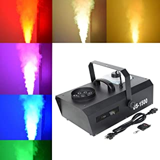 Tengchang 1500 Watt DMX-512 Smoke Fog Machine RGB 3 IN1 9 LED Lights Remote Control DJ Party Stage Show Fogger Vertical Spray