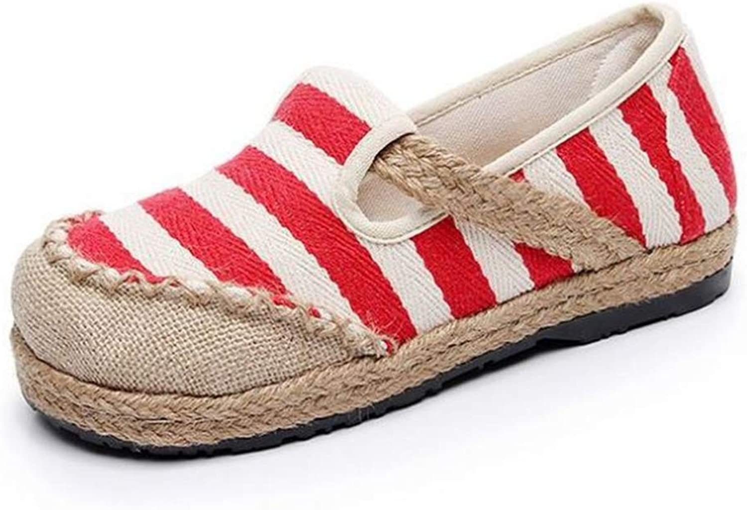 pink town Women's Linen Lazy shoes Striped Ethnic Style Student shoes