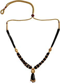 Mangalsutra Indian Jewelry Traditional Black Beaded Pearl Temple Pendant Necklace for Women