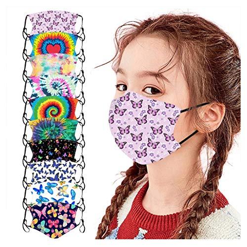 10 Stück Kinder Mundschutz Multifunktionstuch 3D Cartoon Druck Maske Animal Print Atmungsaktive Baumwolle Stoffmaske Waschbar Mund-Nasenschutz Tiermotiv Bandana Halstuch Jungen Mädchen (N-10PC)