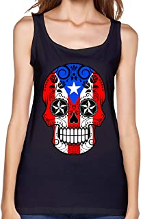 Sugar Skull with Roses and Flag of Puerto Rico Women's Sleeveless Singlet Casual Summer Sleeveless T-Shirts for Women
