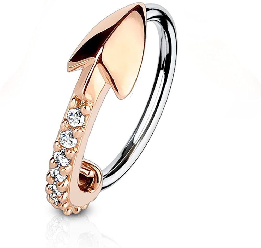 Covet Jewelry CZ Paved Arrow 316L Surgical Steel Nose, Cartilage Hoop Rings