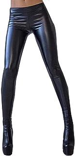 6aabfd1dcb8d Pantaloni Pelle Sintetica Donna Eleganti Moda Leggins Autunno Invernali Vita  Elastica Monocromo Tubino Chic Ragazza High