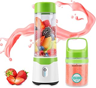 Portable Blender, Personal Blender for Shakes and Smoothies with 6 Stainless Steel Powerful Blades, Fruit Juice Food Mini Blenders Mixer with USB Rechargeable BPA Free Double Cups, 300ml/500ml, Green