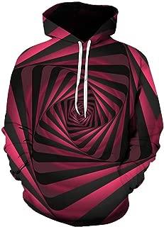 3D Floral Printed Sweatshirt Spiral Geometric Hoodies Casual Vertigo Print Drawstring Hooded Pullover Zipper WEI MOLO