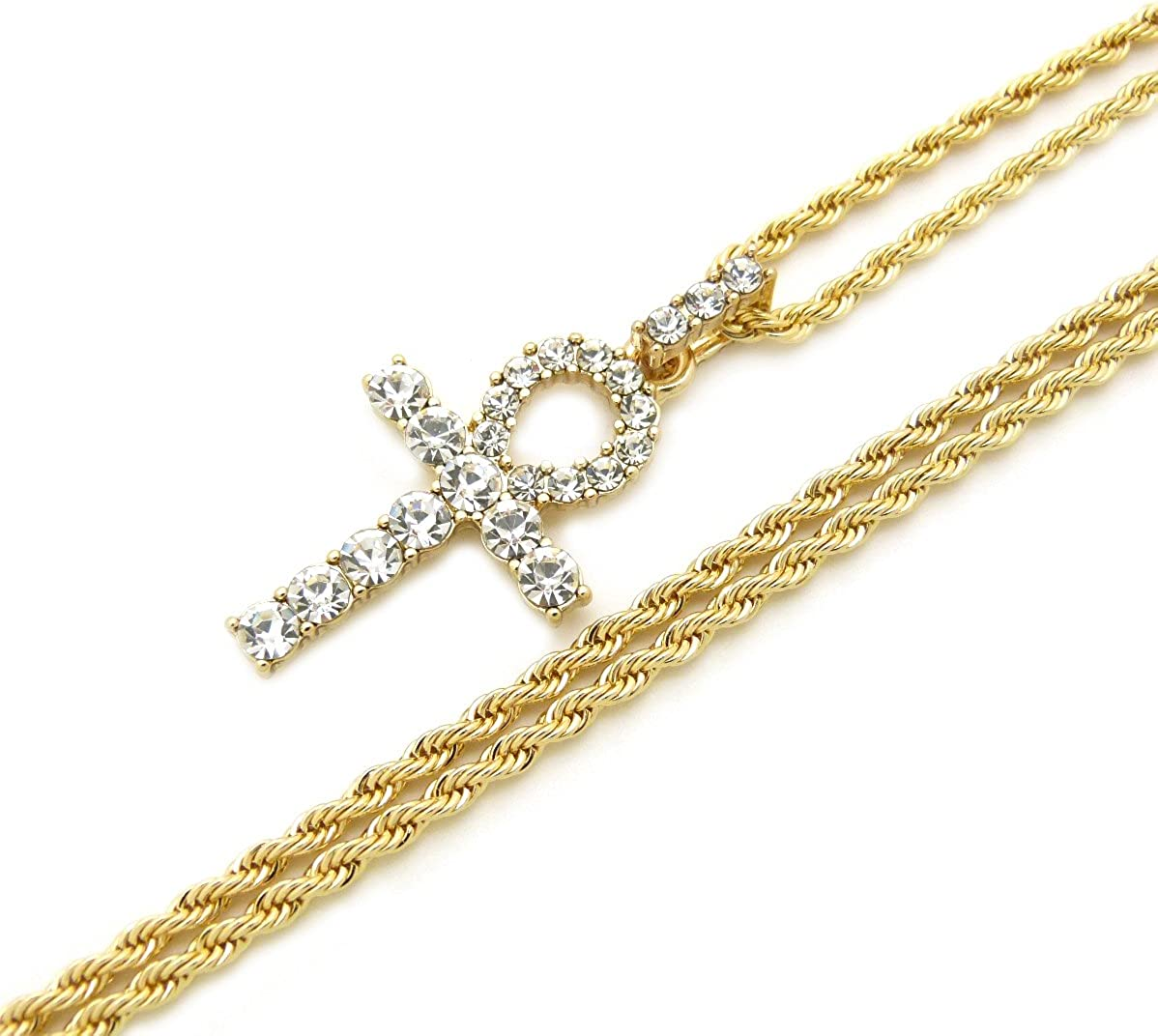 Fashion 21 Micro Pave Egyptian Ankh Cross Pendant 22 to 27 inches Various Chain Necklace Gold Tone