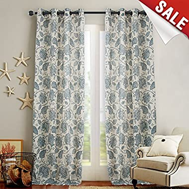 Floral Scroll Printed Linen Curtains, Grommet Top - Ikat Flax Textured Medallion Design Retro Living Room Curtain Sets (Teal, 95 inch Long, One Pair)