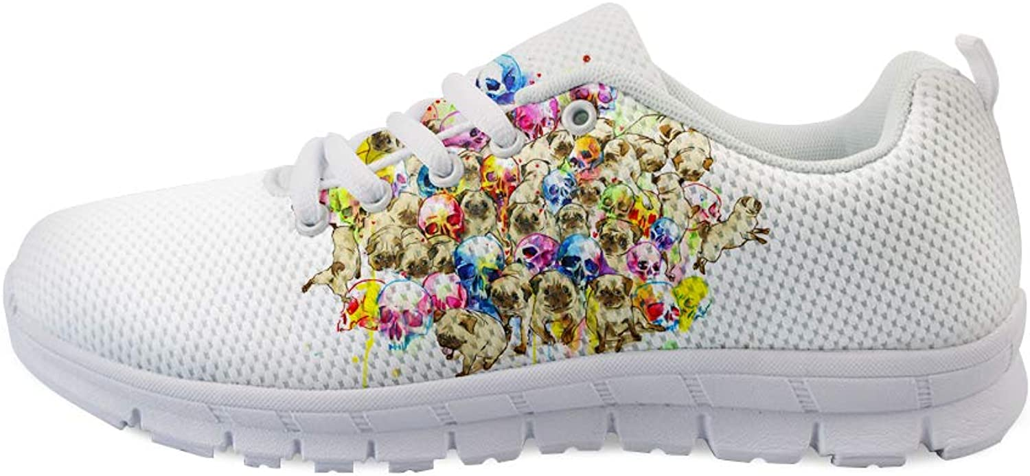 Owaheson Lace-up Sneaker Training shoes Mens Womens Pugs Drill Out from colorful Skull Heap