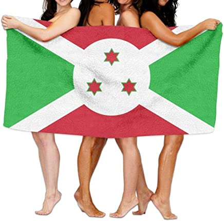 LUCIME Beach Towel Flag of Burundi 31.5x51.2inch/80x130cm Soft Lightweight Absorbent for Bath Swimming Pool Yoga Pilates Picnic Blanket Towels