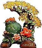 JYKFJ Estatua de Rana de Dinero Feng Shui con Figuras de árbol de Dinero, Escultura de Resina de Sapo de la Suerte, Oficina, Escritorio, Calentamiento de la casa, Regalo de Apertura de Tienda, Verde