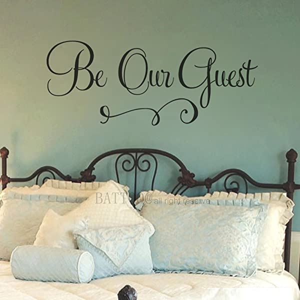 BATTOO Be Our Guest Wall Decal Guest Bedroom Decal Wedding Decal Vinyl Decal Bedroom Decal Guest Room Decor Wall Quote Decal 30 W By 12 H Black