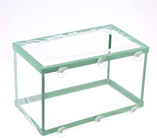uxcell White Net Green Frame Fish Tank Fishbowl Aquarium Breeder w 6 Suction Cups