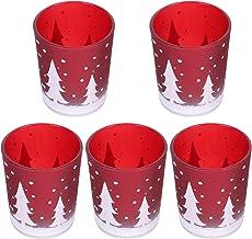 Mobestech Suporte de vela de Natal com 5 peças de vidro vermelho, porta-velas de árvore de Natal para decoração de mesa e ...