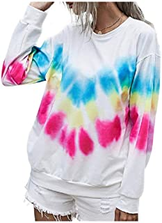 HEFASDM Womens Pullover Round Neck Fall Winter Floral Tribal Tie-Dye Tees