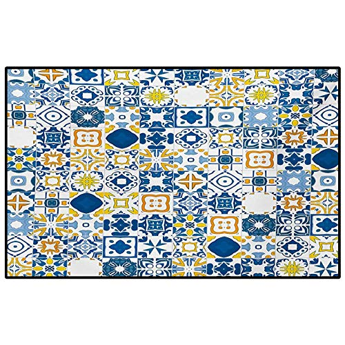 Yellow and Blue Bedroom Rugs Patio Rug Rug pad Mosaic Portuguese Azulejo Mediterranean Arabesque Effect Chair mat for Carpet Violet Blue Mustard White 2 x 3 Ft