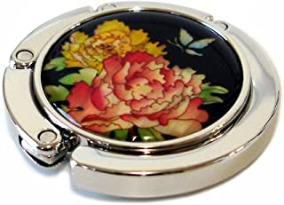 Antique Alive Mother of Pearl Folding Table Purse Caddy Handbag Holder Hanger Hook, Red Yellow Flower, 3.2 Ounce
