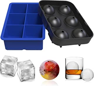 Ouddy 2 Pack Ice Cube Trays, Silicone Combo Round Ice Ball and Large Square Ice Cube Molds with A Funnel for Cocktails, Whiskey