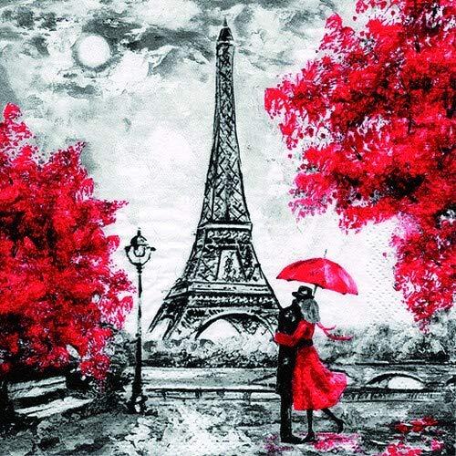 20 Servietten Romantik am Eiffelturm als Tischdeko für Hochzeit und Liebhaber von Paris 33x33cm