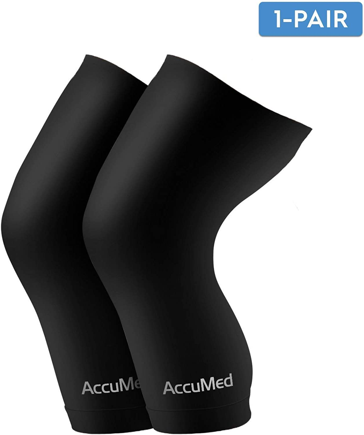 AccuMed Copper Compression Knee Sleeve  Made with Real CopperEmbedded Fiber for Recovery, Pain, Support of Stiff and Sore Muscles Exercise Sports. for Men & Women. 1 Pair Medium (ACKSM).
