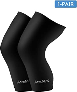 AccuMed Copper Compression Knee Sleeve - Made With Real Copper-Embedded Fiber For Recovery, Pain, Support of Stiff and Sore Muscles / Exercise / Sports. For Men & Women. 1 Pair MEDIUM (ACKS-M).