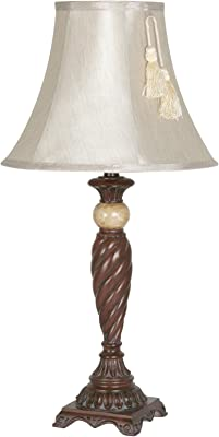 Oaks Lighting Mamore polyresin Table lamp Complete with lampshade, Resin, 60 W, Silver