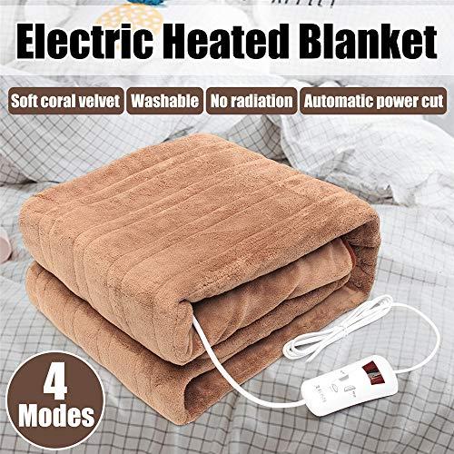 Elektrische verwarmingsdeken, elektrisch verwarmd deken, dubbele mat, 4 versnellingen, synchronisatie, elektrisch matras, slaapbank, auto, tapijt, wasbaar 220 V, 160 x 130 cm